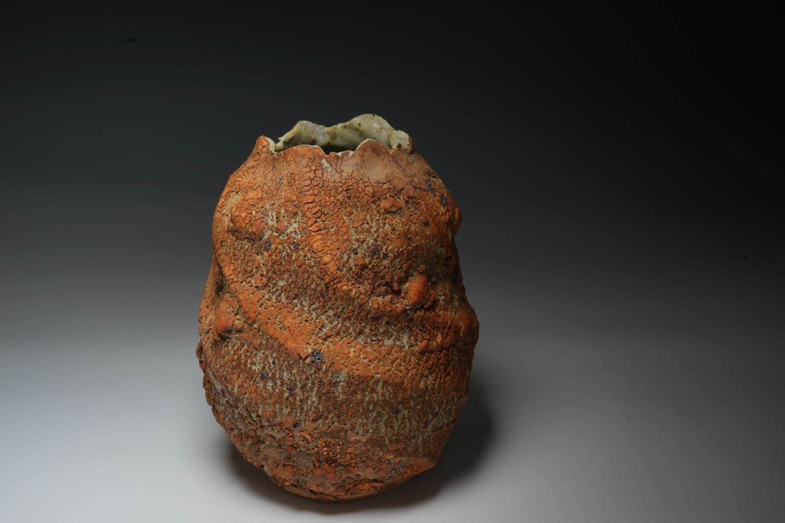 Stoneware vase with earth textured surface (4)