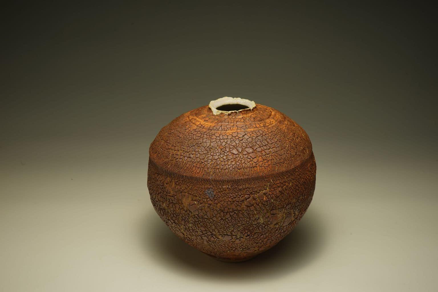 burnt textured earth vase.