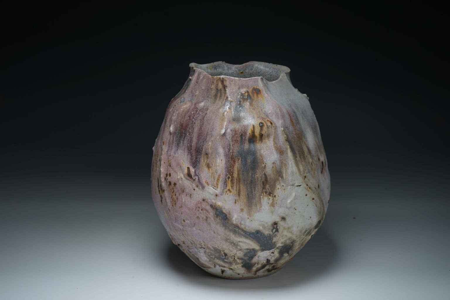 Thrown and altered abstract vase