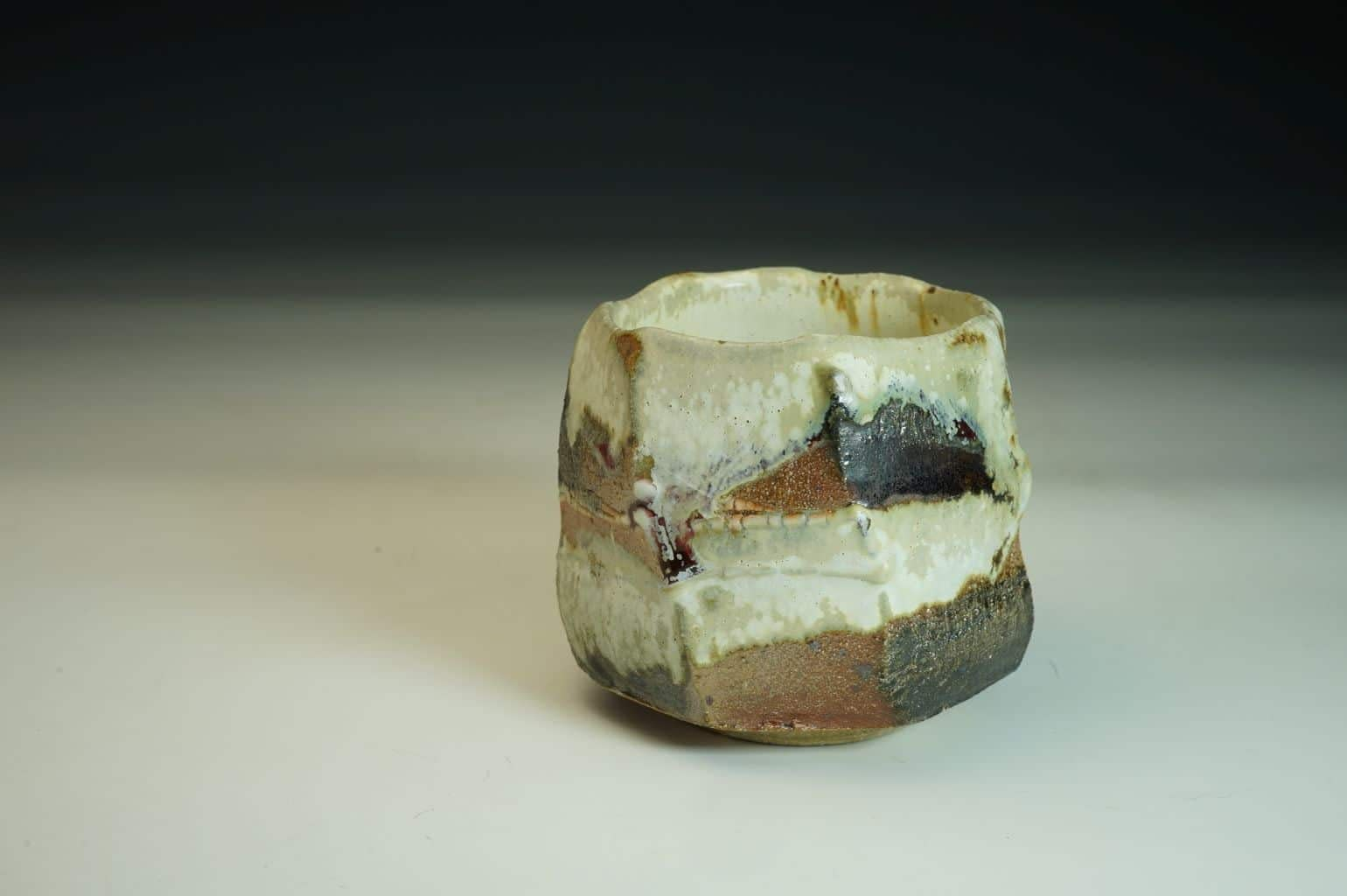 Wood-fired with salt Chawan tea bowl in stoneware.