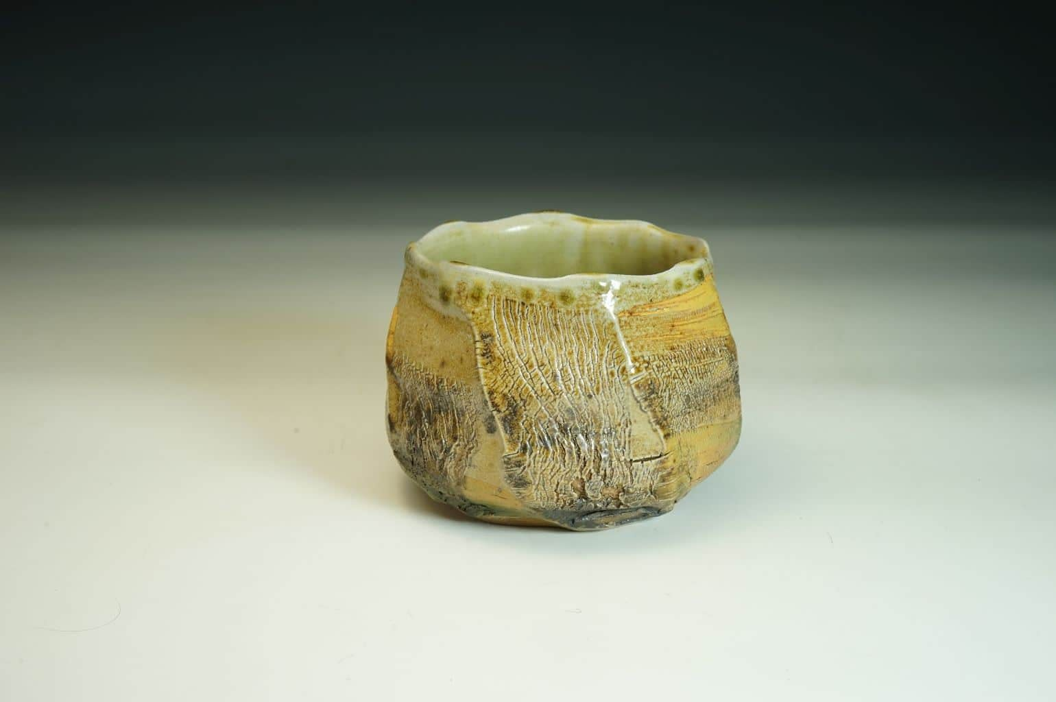 No. 17. Chawan wood-fired tea bowl with delicate crackle surface