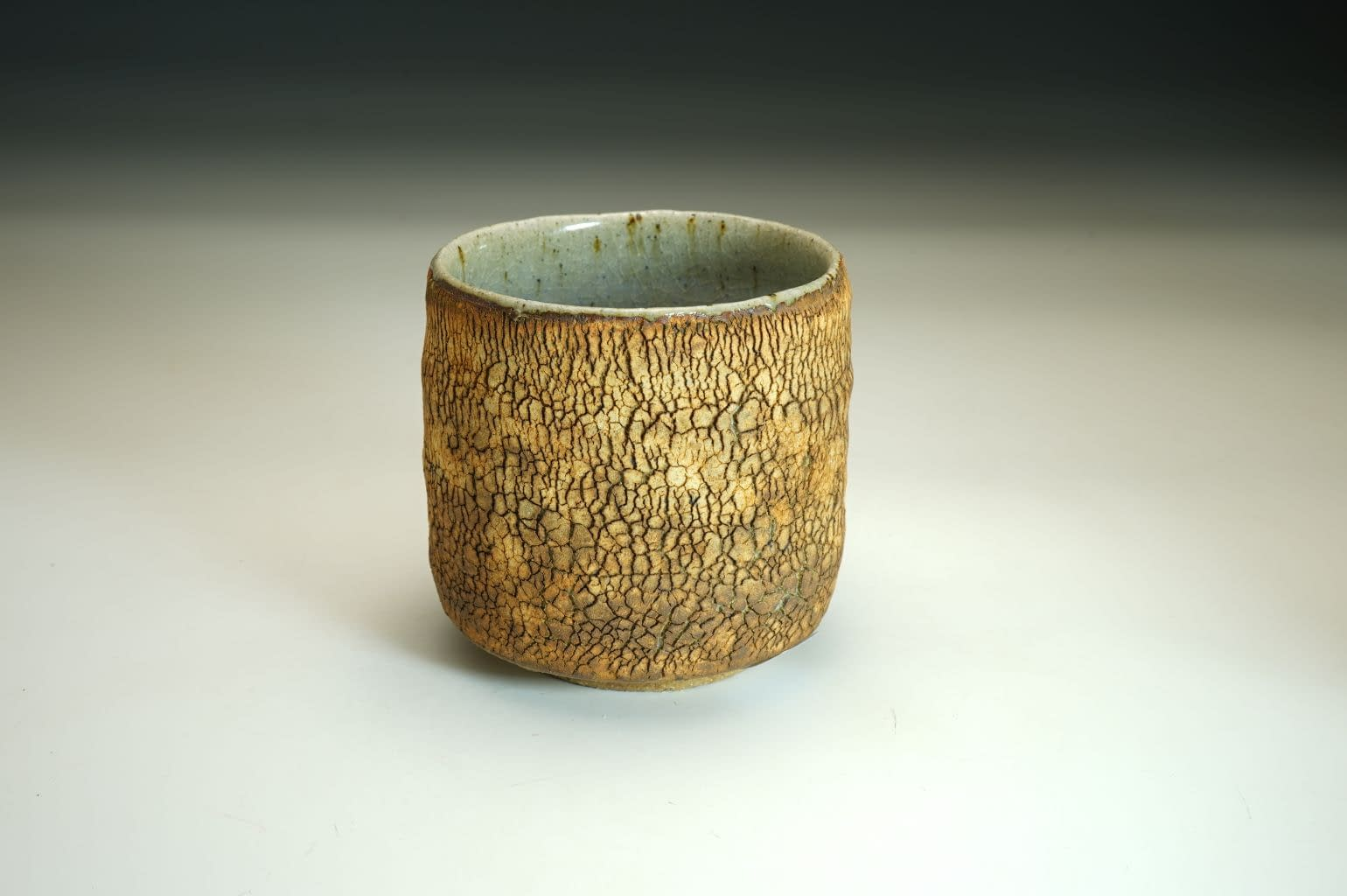 No. 4. Stoneware chawan tea bowl with earth textured surface