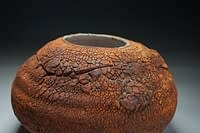Recently fired Ikebana Planting vase /container, in natural texture earth crust stoneware