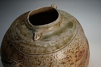 Wood fired vase with fly ash and sculptural surface
